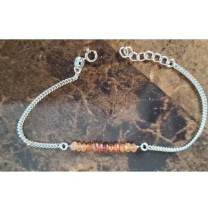 """Genuine Hessonite Garnet Bracelet 7"""" - 8"""""""